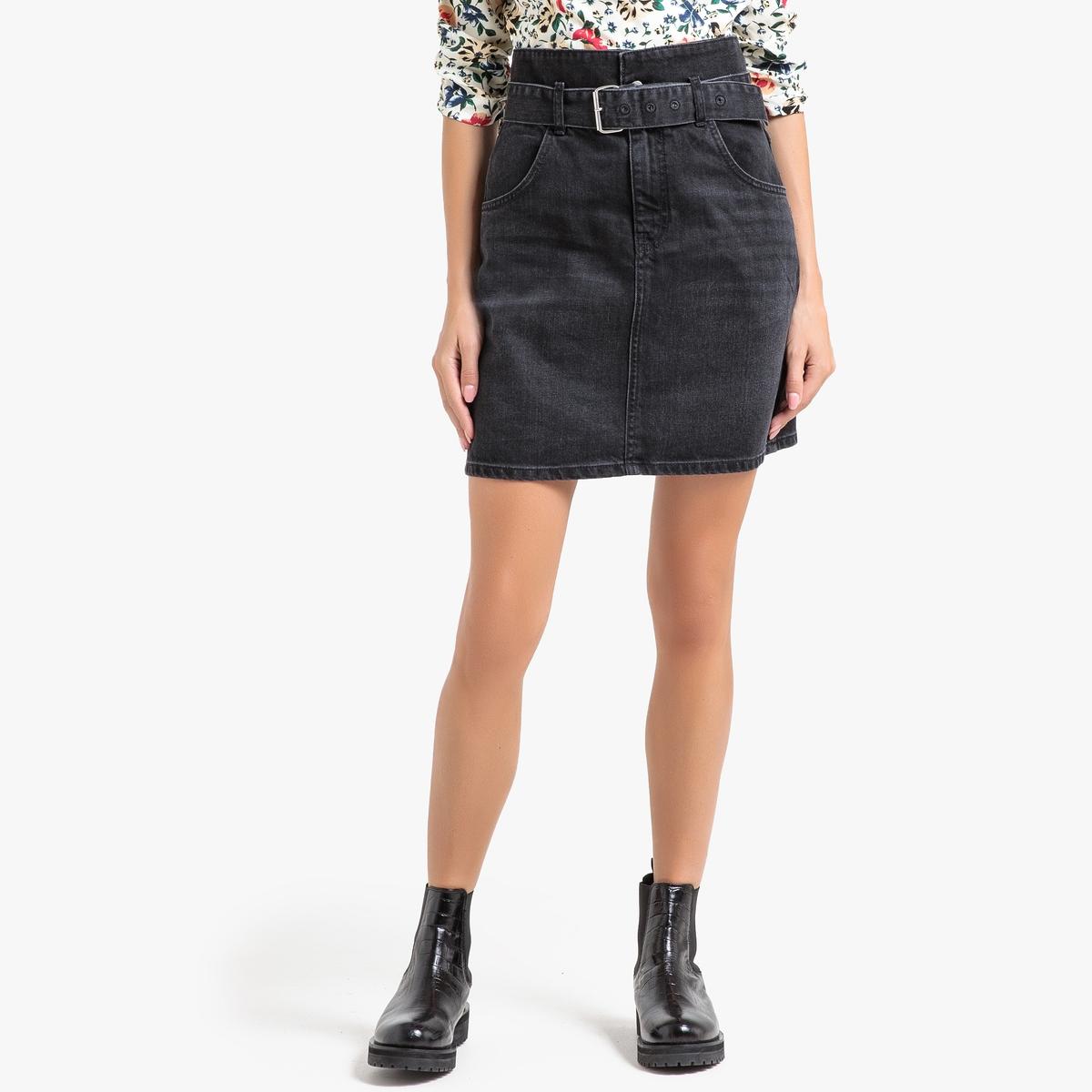 Юбка La Redoute Короткая джинсовая ELLIE 0(XS) черный юбка la redoute короткая с завышенной талией и цветочным рисунком xs зеленый