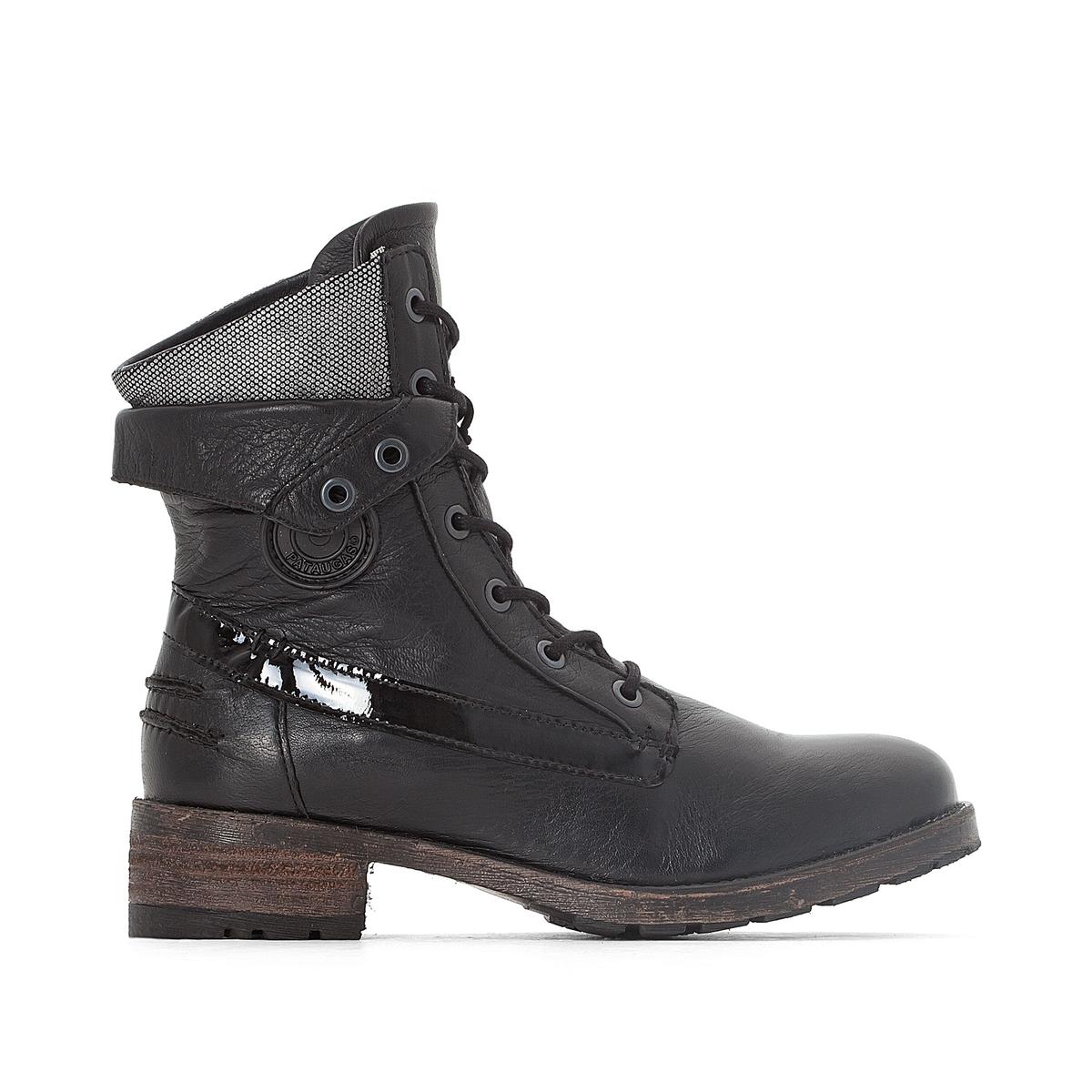 Ботинки кожаные на шнуровке DedayДетали  •  Высота голенища : 15 см для размера 37 •  Высота каблука : 0 см •  Застежка : шнуровка. •  Круглый мысокСостав и уход  •  Верх 100% яловичная кожа •  Подкладка 100% кожа •  Стелька 100% кожа •  Подошва 100% каучук<br><br>Цвет: черный