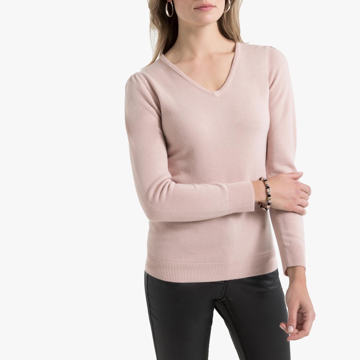Пуловер La Redoute С V-образным вырезом из тонкого трикотажа 34/36 (FR) - 40/42 (RUS) розовый пуловер la redoute с тунисским вырезом из тонкого трикотажа 34 36 fr 40 42 rus каштановый