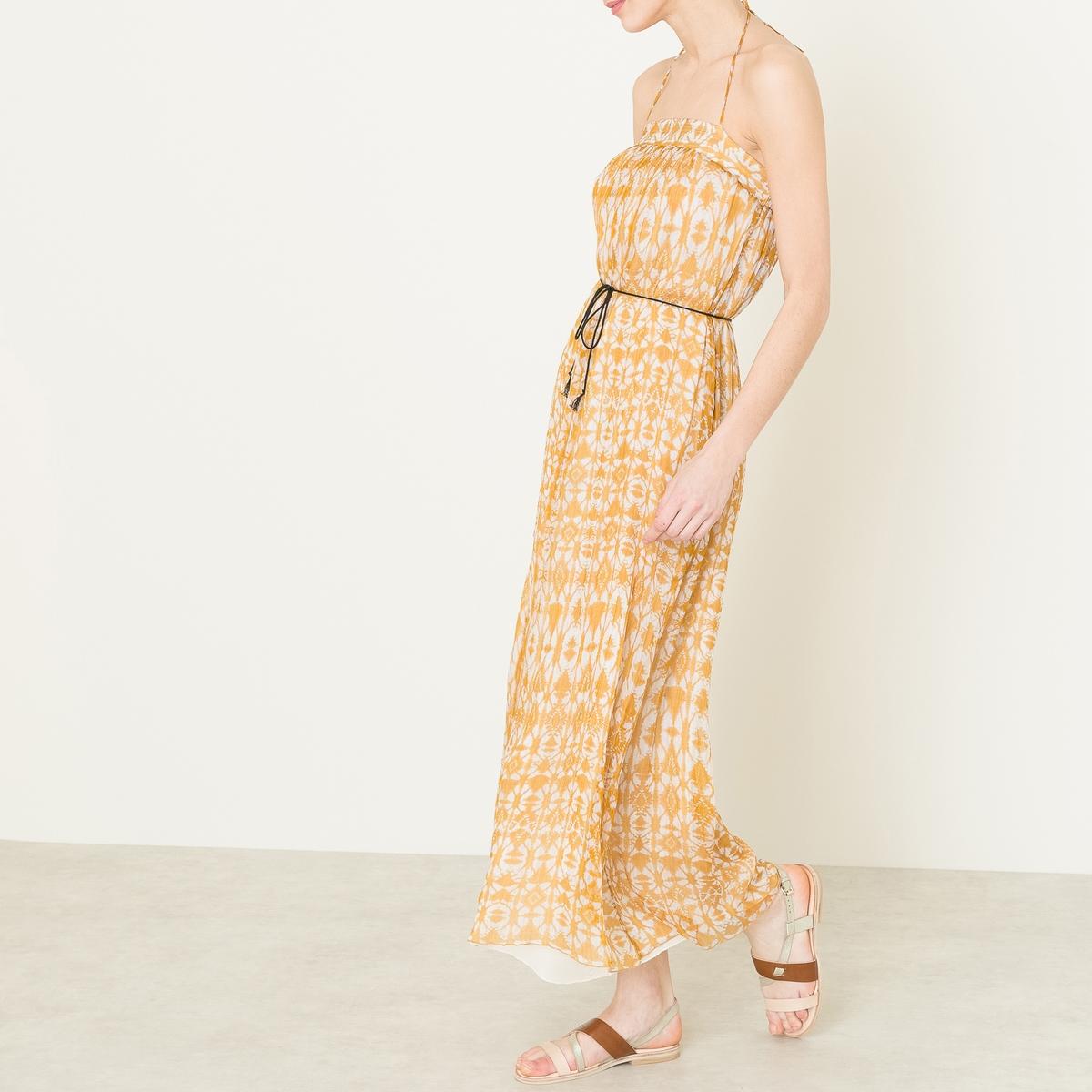 Платье длинное из шелкаДлинное шелковое платье POMANDERE - Покрой бюстье, на тонких бретелях. Тонкие складки спереди. Очень длинное, слегка расклешенное платье. На контрастных завязках на талии. Легкая струящаяся ткань из 100% шелка со сплошным рисунком.Состав и описание   Материал : 100% шелкМарка : POMANDERE<br><br>Цвет: горчичный