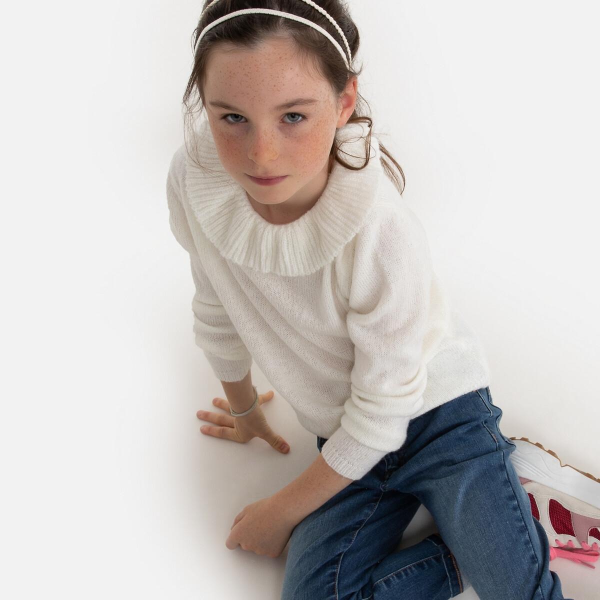 Пуловер La Redoute С круглым вырезом с воланами из тонкого трикотажа 3-12 лет 6 - 114 см бежевый