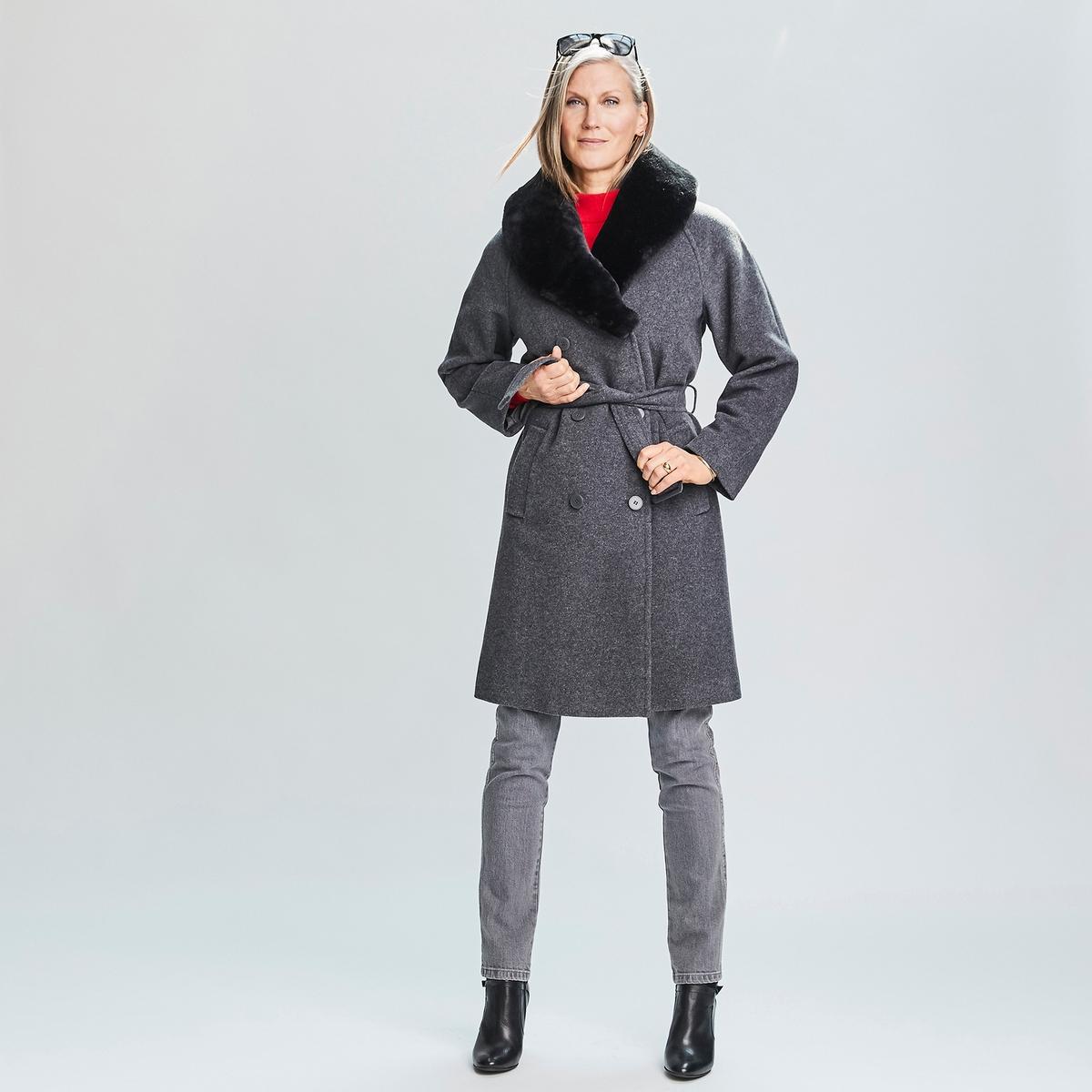 Imagen principal de producto de Abrigo de lana mezclada y cuello de pelo sintético - Anne weyburn