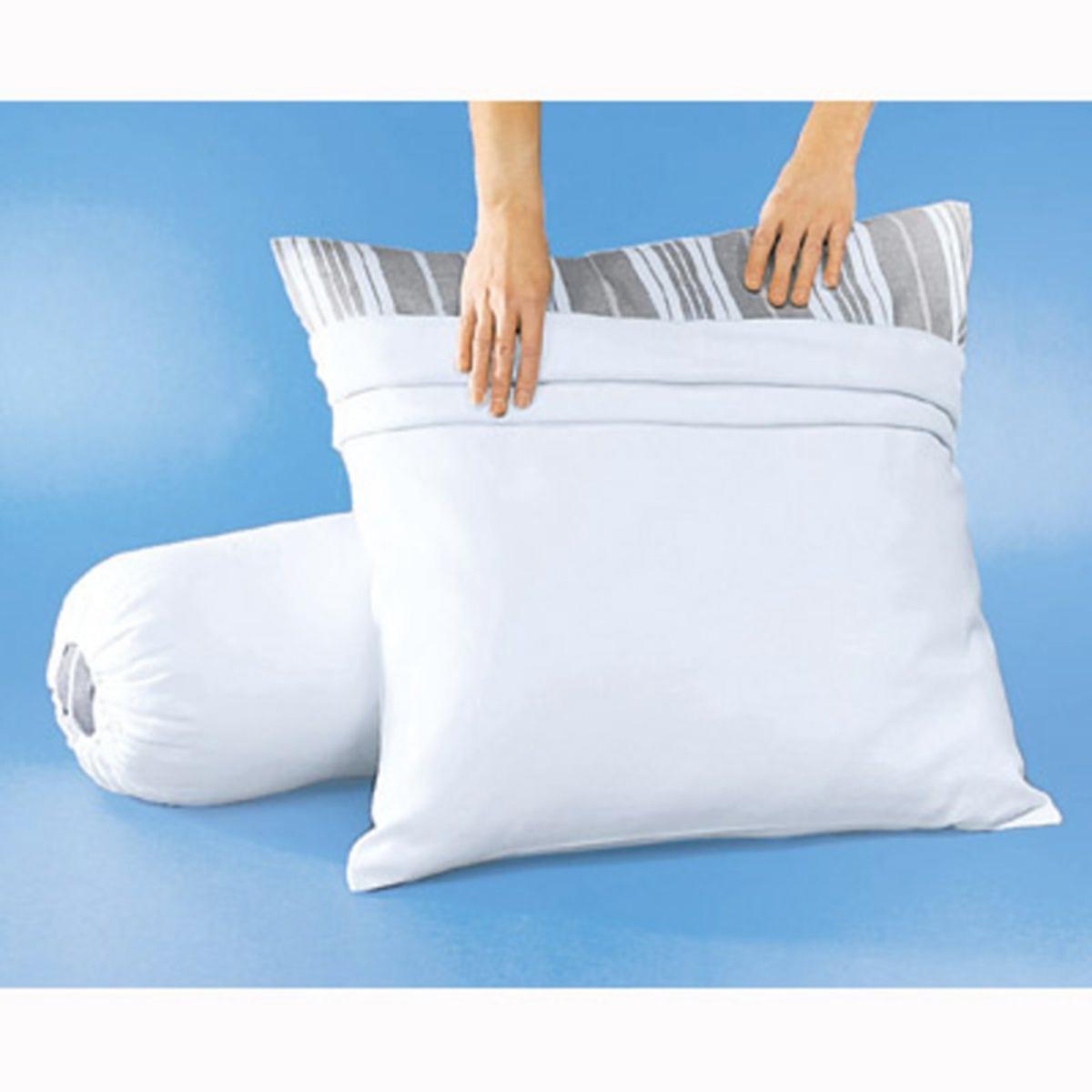 Чехол защитный на подушку из мольтона с обработкой Teflon против пятенЗащитный чехол на подушку из мольтона с обработкой Teflon против пятен.Из мольтона, 100% хлопок, с начесом с обеих сторон (220 г/м?), с обработкой Teflon против пятен (если пятно свежее, чтобы его убрать, достаточно губки или впитывающей бумаги).Машинная стирка при 60 °С.Размер в см  .<br><br>Цвет: белый<br>Размер: 50 x 70  см