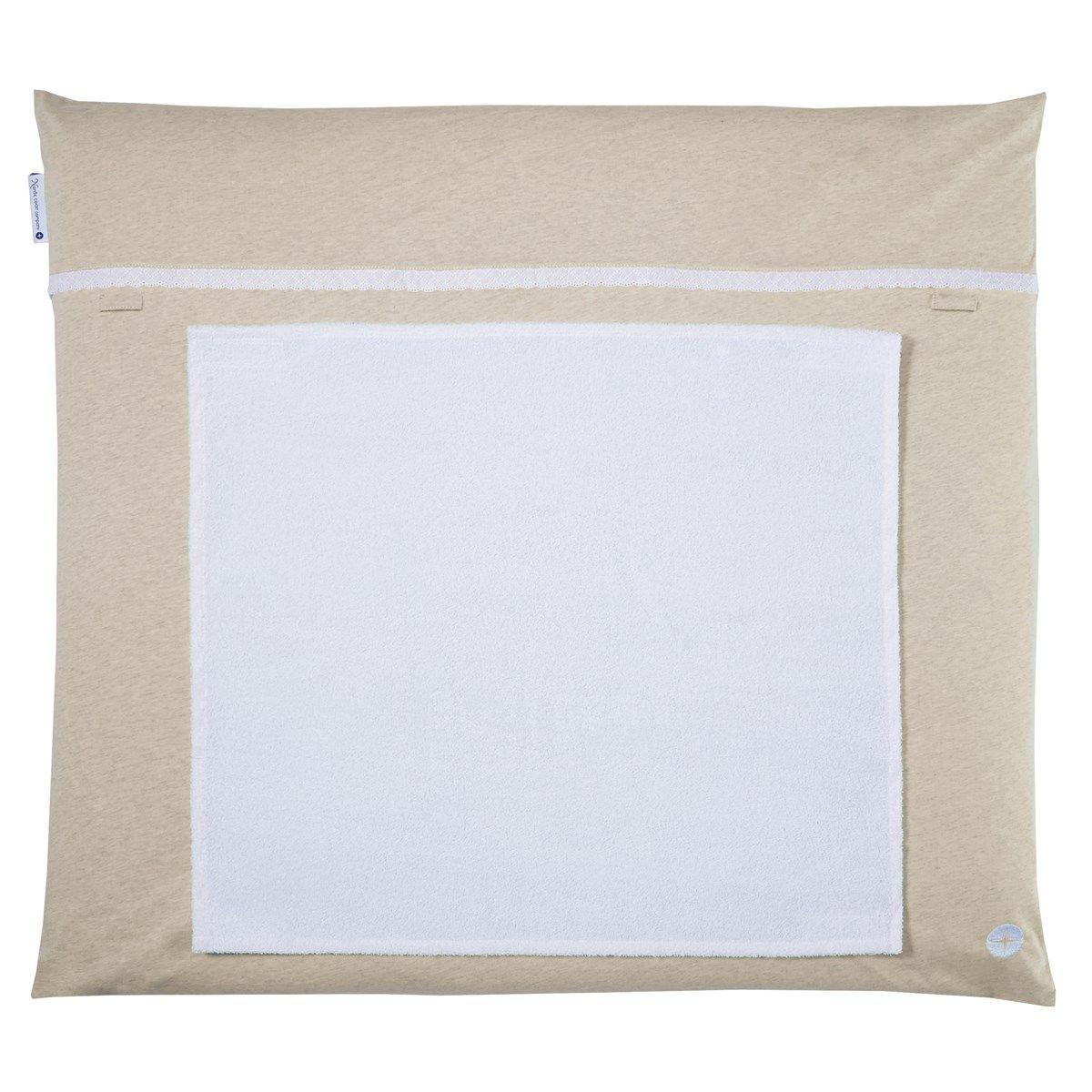 Matelas à langer 70x80cm lavable beige froufrous, avec 3 serviette imperméable