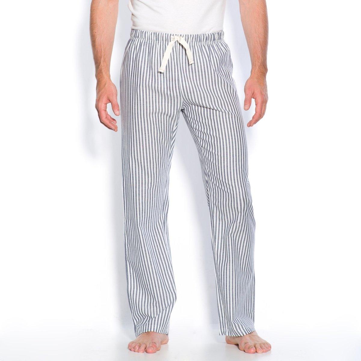 Брюки из поплина в полоскуБрюки из поплина 100% хлопок в полоску . Можно носить с домашней футболкой   .Эластичный пояс с завязками. 1 накладной карман сзади  ...<br><br>Цвет: синяя полоска<br>Размер: 48/50.56/58.36/38