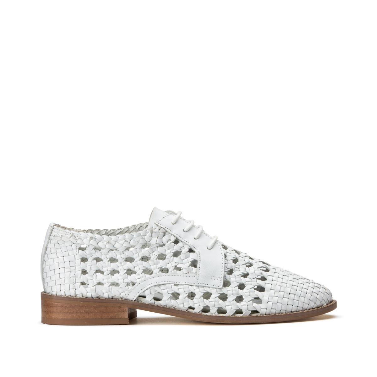 Ботинки-дерби La Redoute Кожаные ажурные на шнуровке 40 белый цена