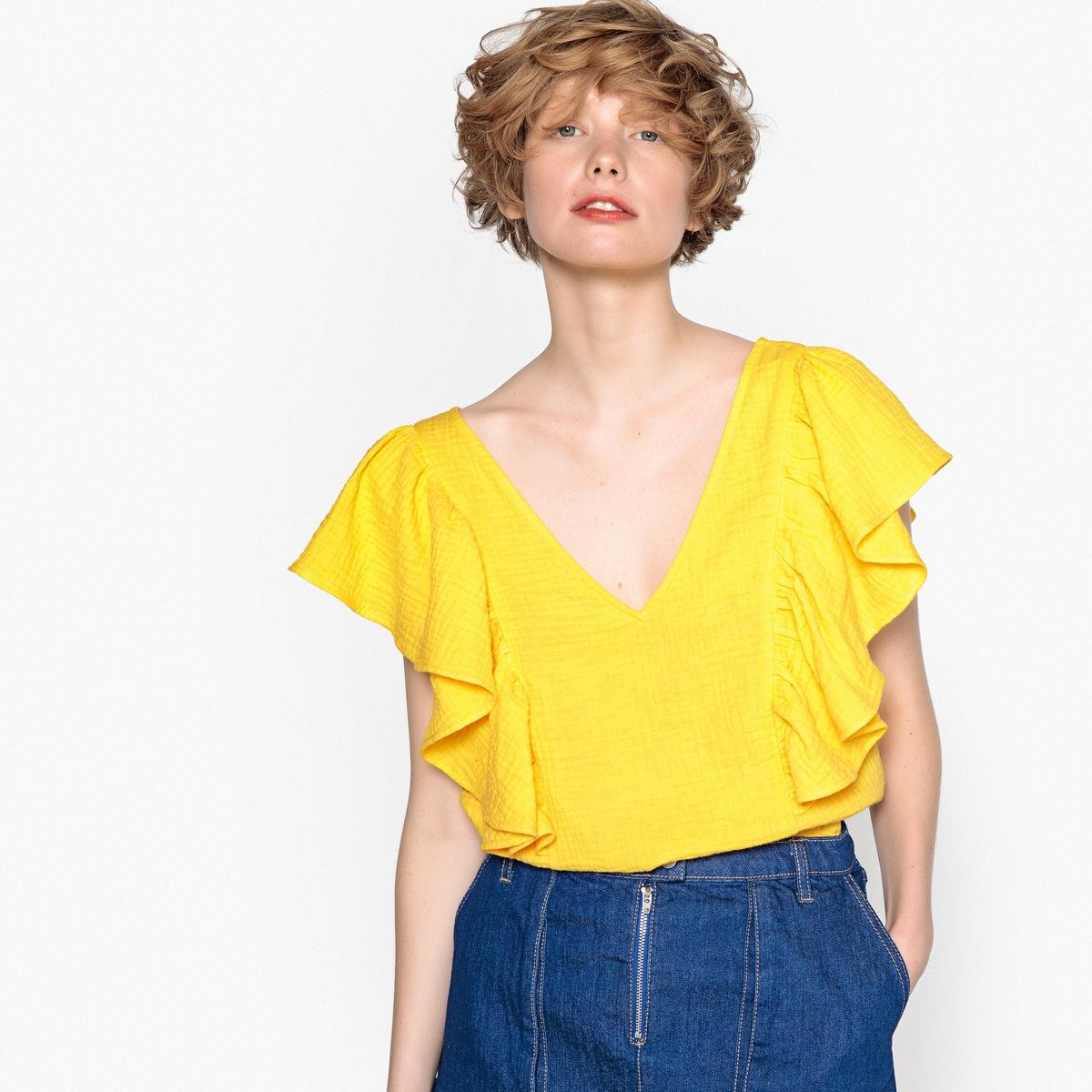 Blusa lisa de decote em V, mangas curtas