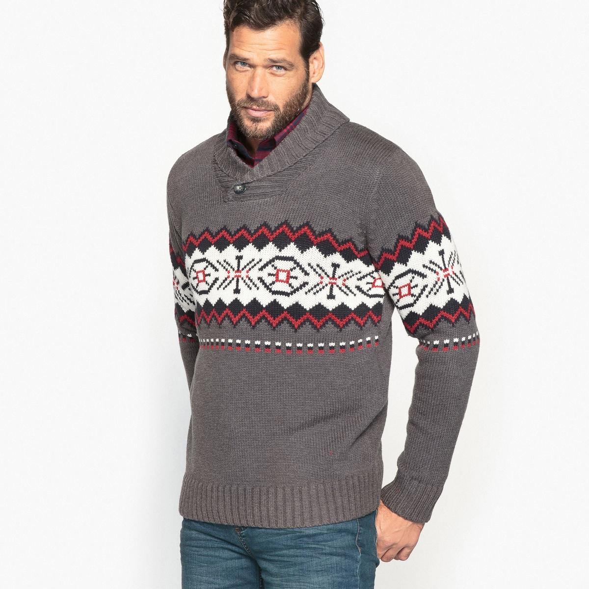 Пуловер из плотного трикотажа с шалевым воротником и жаккардовым рисунком