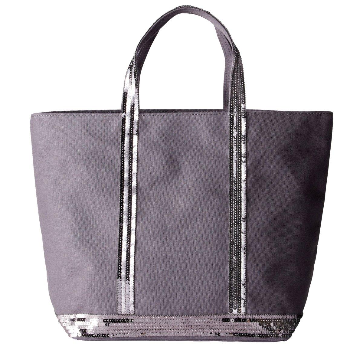 Сумка-шоппер средняя из парусины с блесткамиСредняя сумка-шоппер из парусины с блестками ATHE VANESSA BRUNO. 100% хлопок. Ручки с блестками. Внутренний карман на молнии. Размеры : 41 x 15,5 x 30 см<br><br>Цвет: антрацит,черный