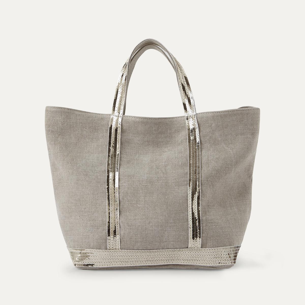 Сумка-шоппер LaRedoute Среднего размера из льна с блестками единый размер бежевый сумка шоппер laredoute из джута с надписью gypsy единый размер бежевый