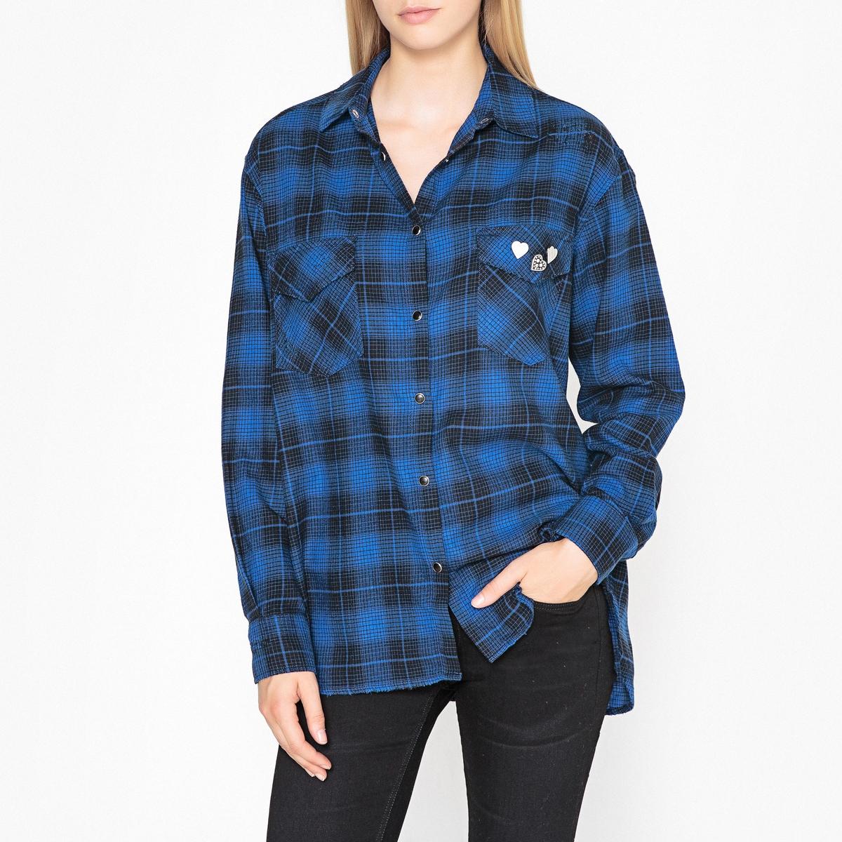 Рубашка в крупную клетку с длинными рукавами цена 2017