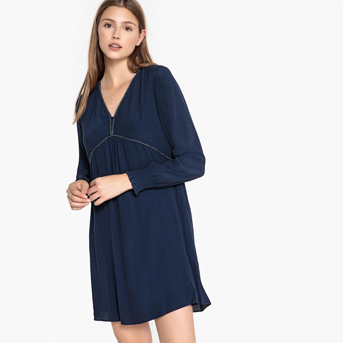 Платье LaRedoute С V-образным вырезом расклешенное RAKE S синий