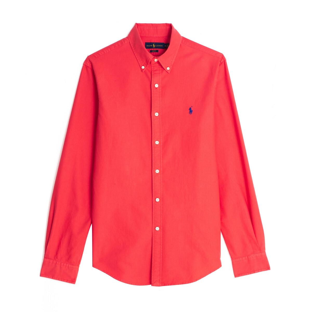 цена Рубашка La Redoute Узкого покроя из ткани оксфорд L красный онлайн в 2017 году