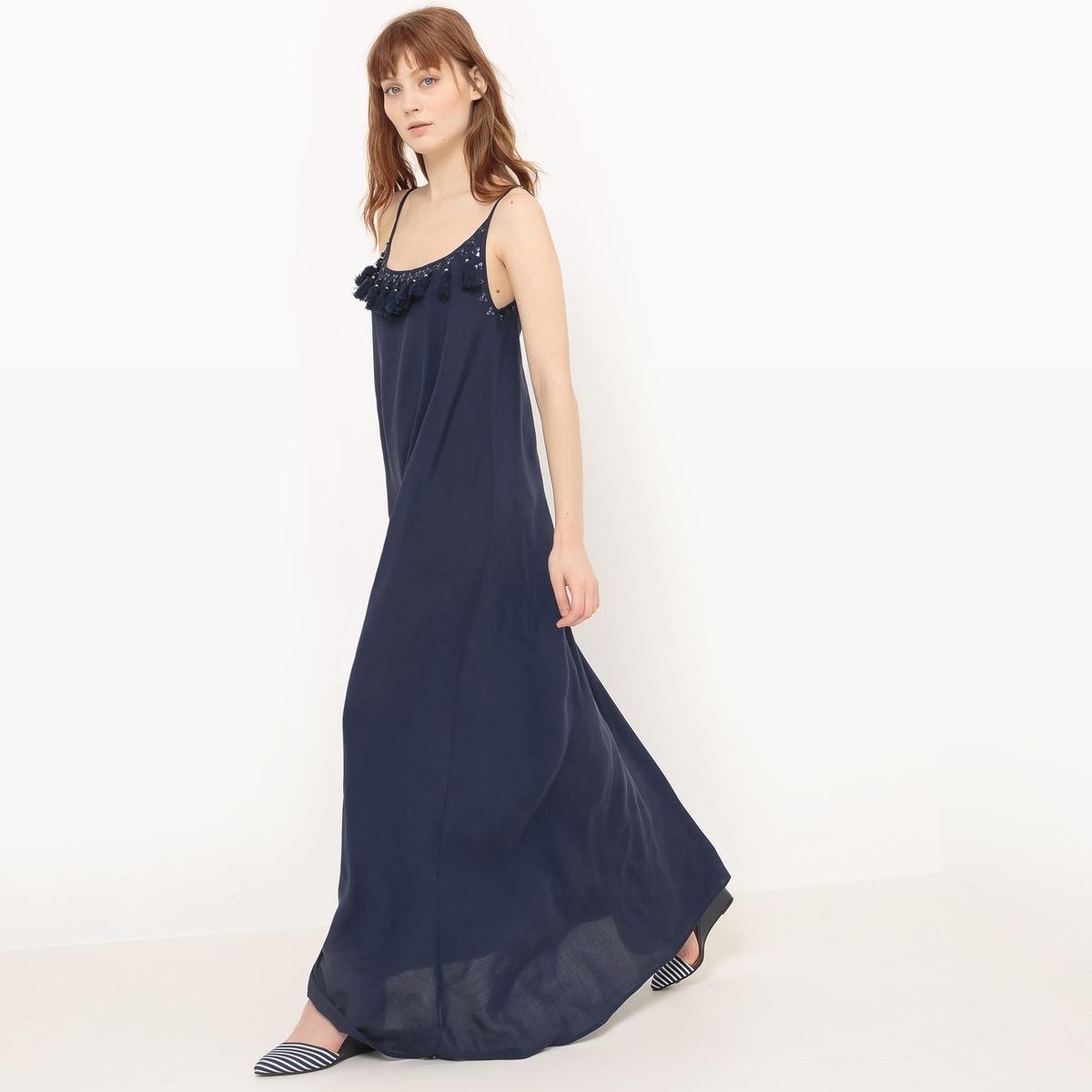 Платье длинное с тонкими бретелями и вышивкойМатериал : 100% вискоза  Длина рукава : тонкие бретели  Форма воротника : круглый вырез Покрой платья : длинное платье Рисунок : однотонная модель   Длина платья : длинное<br><br>Цвет: темно-синий<br>Размер: M/L.XS/S