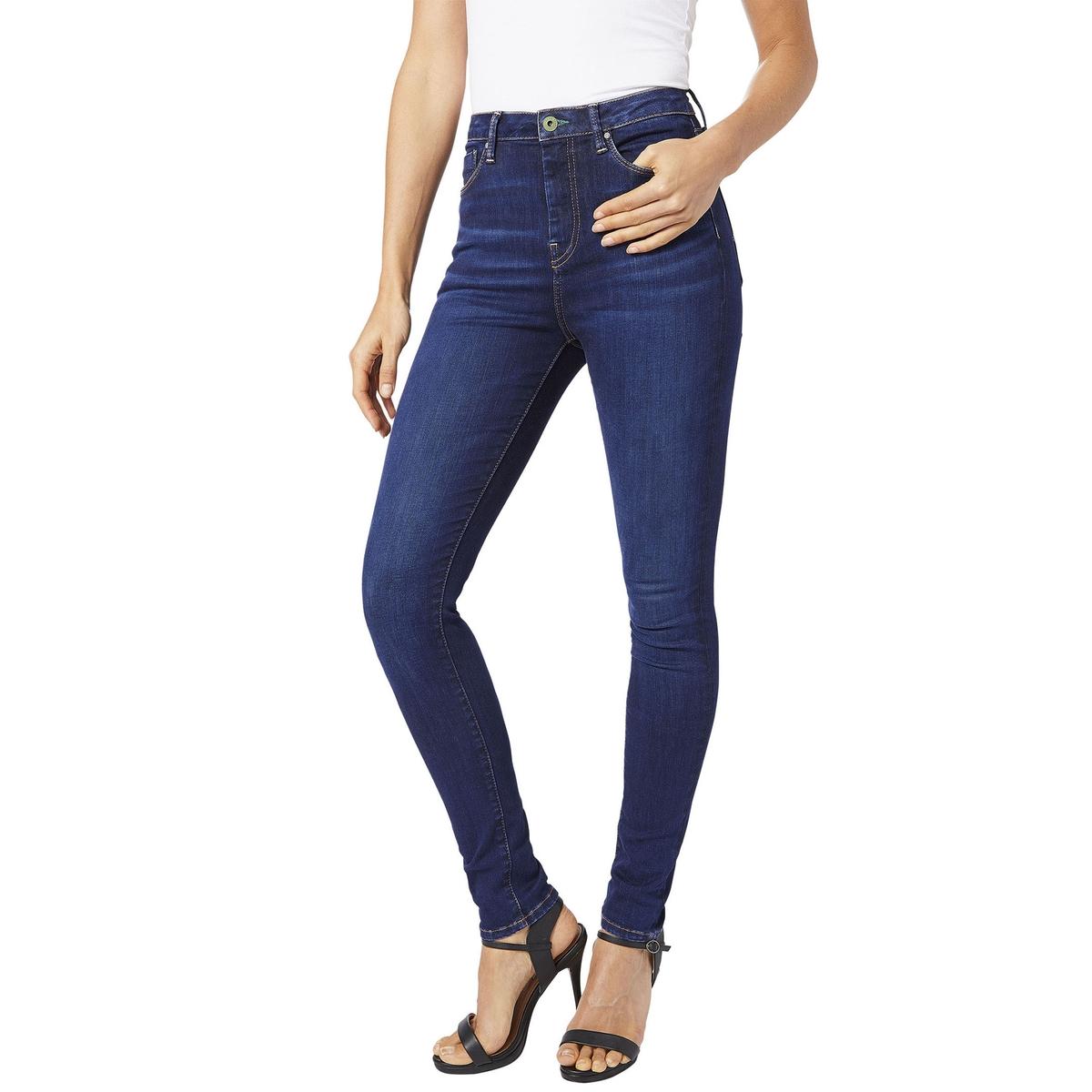 Джинсы DION скинни с завышенной талией bleached wash ripped jeans