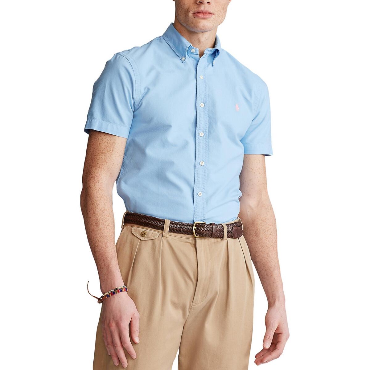Рубашка La Redoute Слим из ткани оксфорд XL синий рубашка la redoute из ткани оксфорд 16 лет 162 см синий