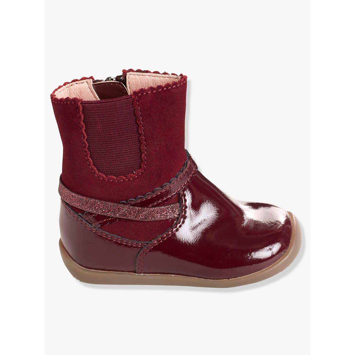 Boots cuir fille élastique côté