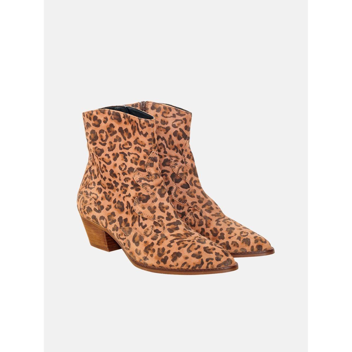 Boots en cuir NICO LEOPARD
