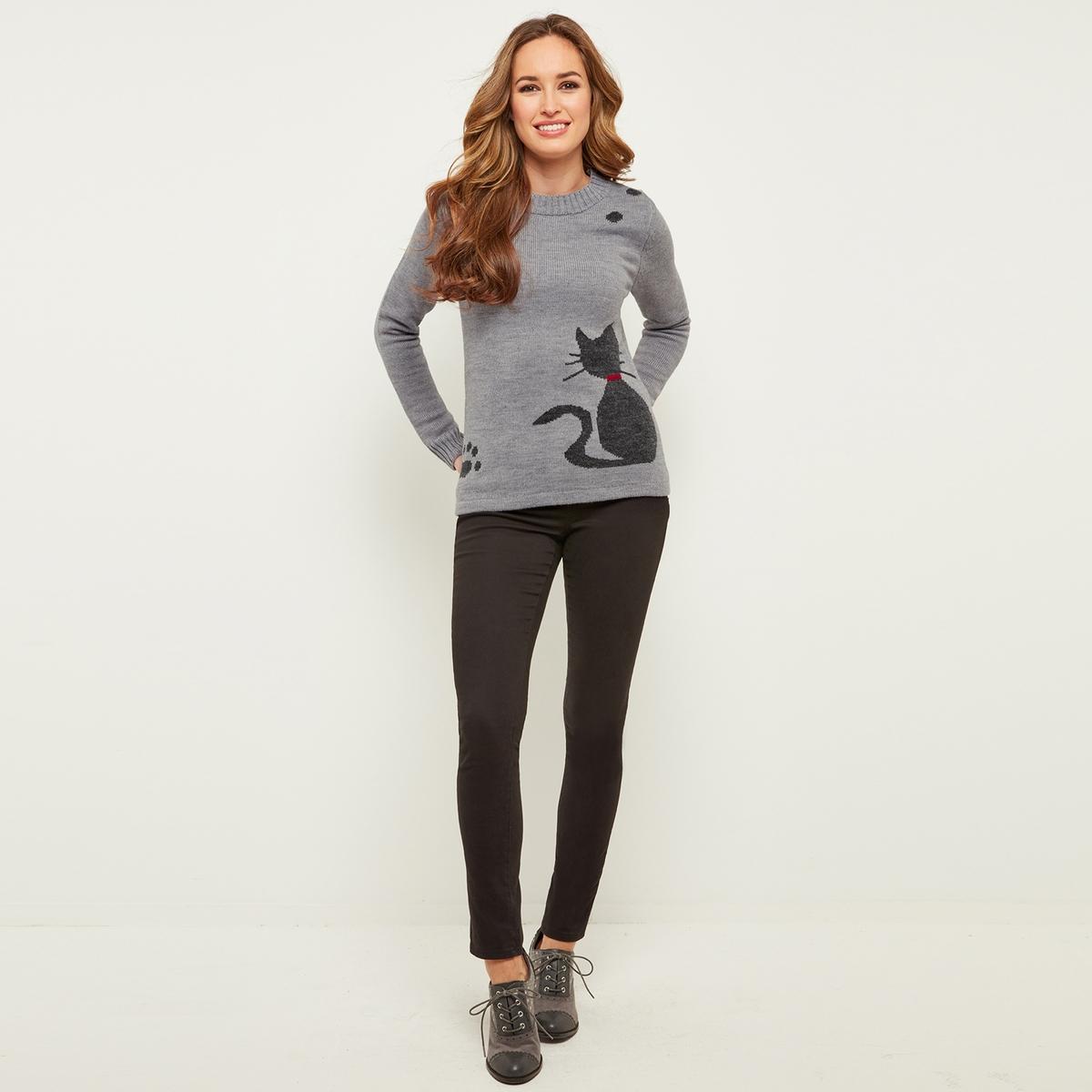 Пуловер с круглым вырезом из тонкого трикотажа с рисунком кошка