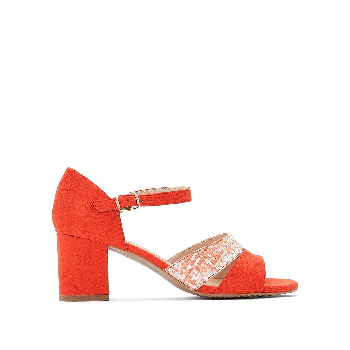 Босоножки La Redoute Кожаные на широком каблуке 36 красный босоножки кожаные bakio
