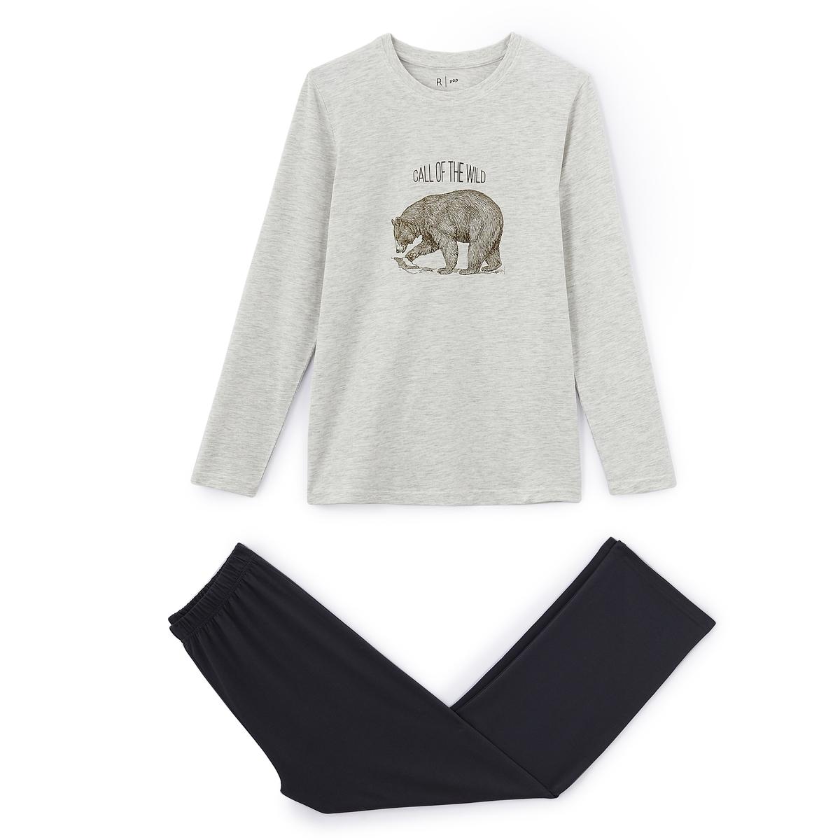 Пижама хлопковая с рисунком медведь, 10-16 летОписание:Невероятно комфортная хлопковая пижама с рисунком медведь спереди для сладких снов.Детали  •  Круглый вырез •  Однотонные брюки с эластичным поясомСостав и уход  •  Джерси из 100% хлопка (кроме футболки: преимущественно из хлопка) •  Машинная стирка при 30° на умеренном режиме с изделиями схожих цветов •  Гладить при средней температуре / не отбеливать •  Машинная сушка на умеренном режиме<br><br>Цвет: светло-серый меланж/антрацит<br>Размер: 10 лет - 138 см.14 лет - 162 см