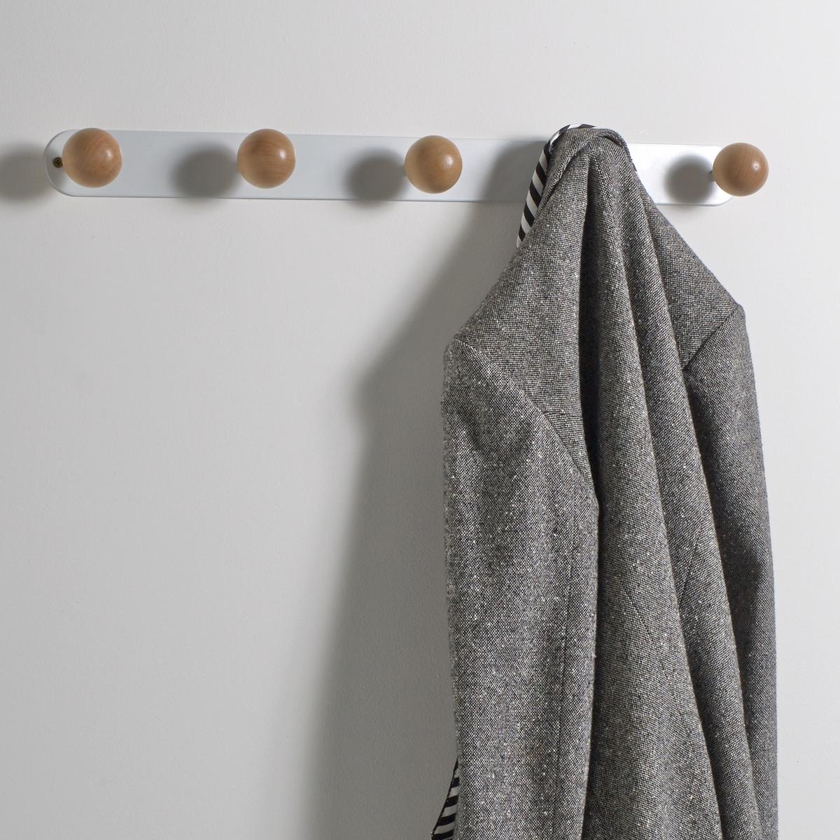 Вешалка настенная с 5 крючками AGAMAПрактичная вешалка AGAMA легко найдет свое место на стене в спальной или прихожейОписание вешалки AGAMA:Вешалка с 5 округлыми крючками для крепления к стене (крепежные элементы не входят в комплект).Вешалка требует самостоятельного монтажа.Характеристики вешалки AGAMA: 5 крючков в форме шаров из натуральной березы.Каркас вешалки из металла с матовой отделкой.Размеры вешалки AGAMA:Длина: 80 см.Глубина: 7,5 см.Высота: 5,2 см.<br><br>Цвет: белый,черный<br>Размер: единый размер