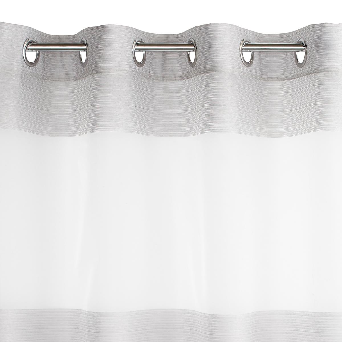 Занавеска в полоску, с люверсами, JustorЗанавеска из окрашенной ткани  Justor, 100% полиэстер  Состав и описание :Материал : 100% полиэстер, люверсы серебристого цвета сверху, подшитый низ.Уход : машинная стирка при 30°C<br><br>Цвет: белый,серый