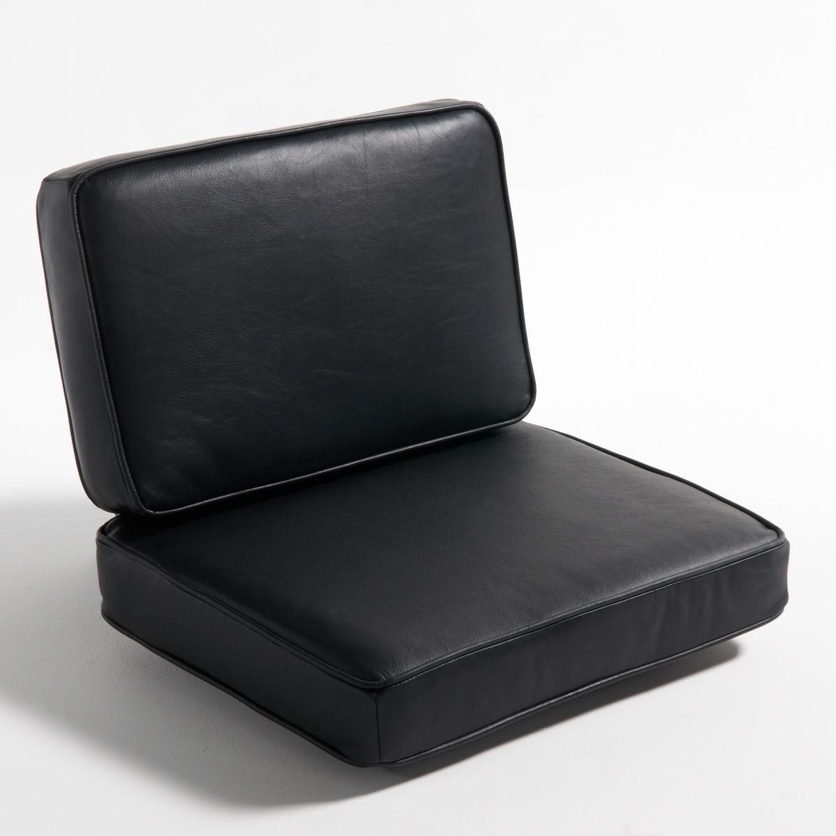 Подушка кожаная для кресла DilmaПодушки для кресла Dilma.Сочетается с каркасом Dilma для создания удобного и простого в уходе кресла.Материал : - Покрытие : обработанная телячья кожа с анилиновой отделкой, хромовое дубление в контактных зонах. Велюр из телячьей кожи с полиуретановым покрытиям в остальных зонах. - Наполнитель : полиэфирный пеноматериал 40 кг/м?, прослойка из волокон полиэстера. - Система крепления.- Чехлы подушек съемные Размеры :- Подушка для сиденья : Ш60 x В15 x Г58 см- Подушка под спину :  Ш58 x В10 x Г38 см<br><br>Цвет: черный