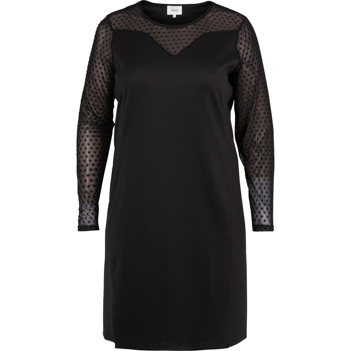 Платье прямое однотонное, средней длины, с длинными рукавамиДетали •  Форма : прямая •  Длина до колен •  Длинные рукава    •  Круглый вырезСостав и уход •  5% эластана, 95% полиэстера  •  Следуйте советам по уходу, указанным на этикеткеТовар из коллекции больших размеров<br><br>Цвет: черный<br>Размер: 54/56 (FR) - 60/62 (RUS).42/44 (FR) - 48/50 (RUS).50/52 (FR) - 56/58 (RUS).46/48 (FR) - 52/54 (RUS)