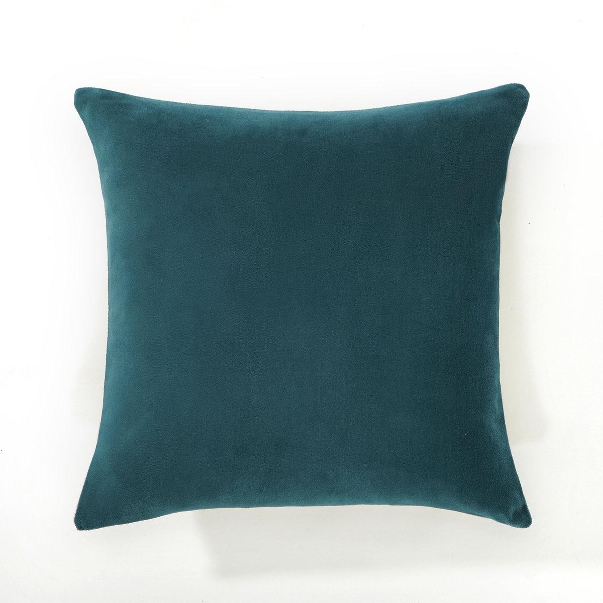 Чехол для подушки, плюш/лен,  KOSTIAКрасивое сочетание плюша и льна .Характеристики чехла для подушки : - 1 сторона из плюша 100% хлопка, 1 сторона из 100% льна.- Застёжка на молнию.- Стирка при 30°.<br><br>Цвет: сине-зеленый/серо-бежевый<br>Размер: 40 x 40  см