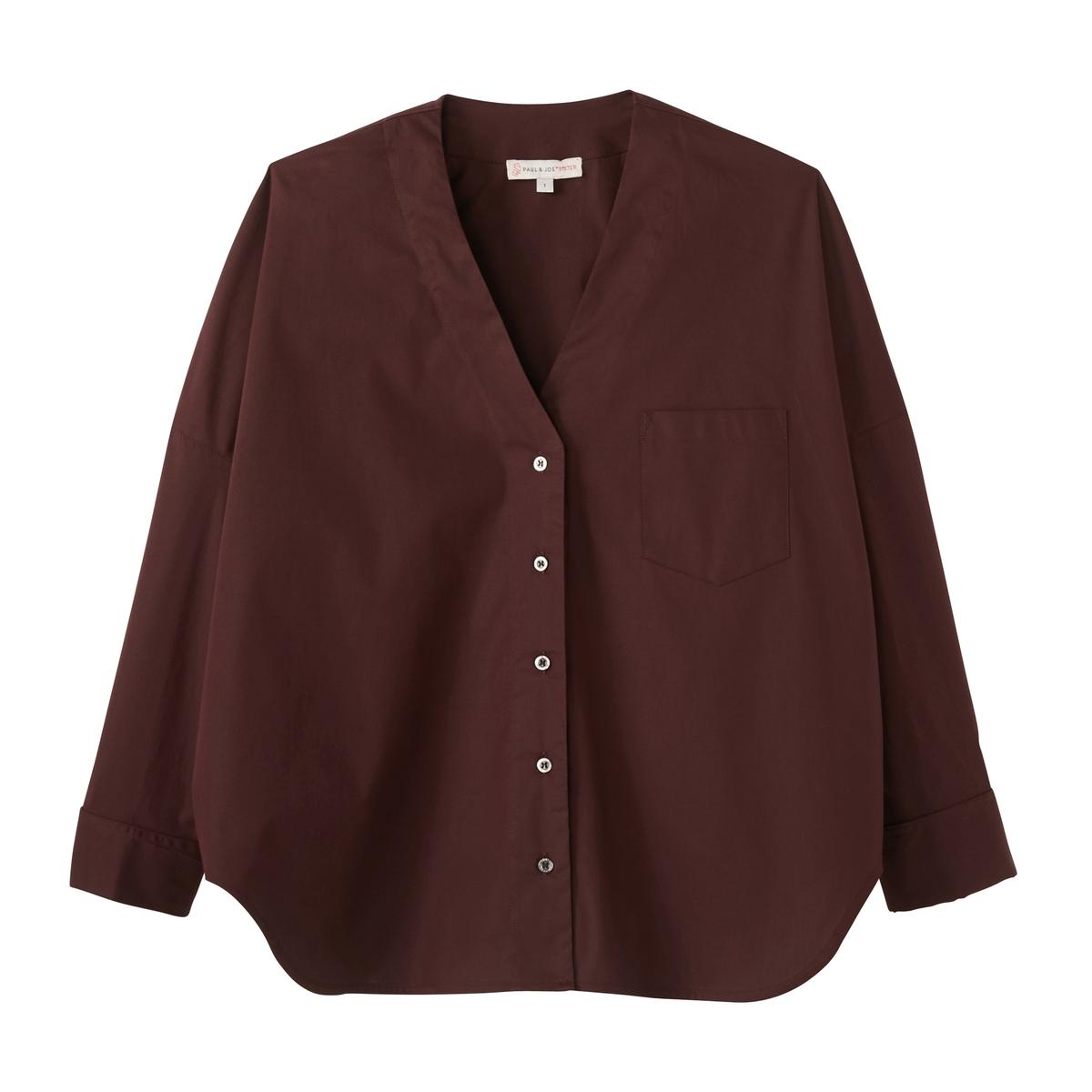 Рубашка свободная KATEРубашка PAUL AND JOE SISTER - модель KATE прямого покроя, V-образный вырез, из хлопкового поплина.Описание •  Длинные рукава  •  Прямой покрой  •   V-образный вырезСостав и уход •  97% хлопка, 3% эластана •  Следуйте рекомендациям по уходу, указанным на этикетке изделия   •  Карман на груди •  Низ закругленный, более длинный сзади •  Застежка на перламутровые пуговицы •  Рукава и манжеты мушкетерские.<br><br>Цвет: белый,бордовый