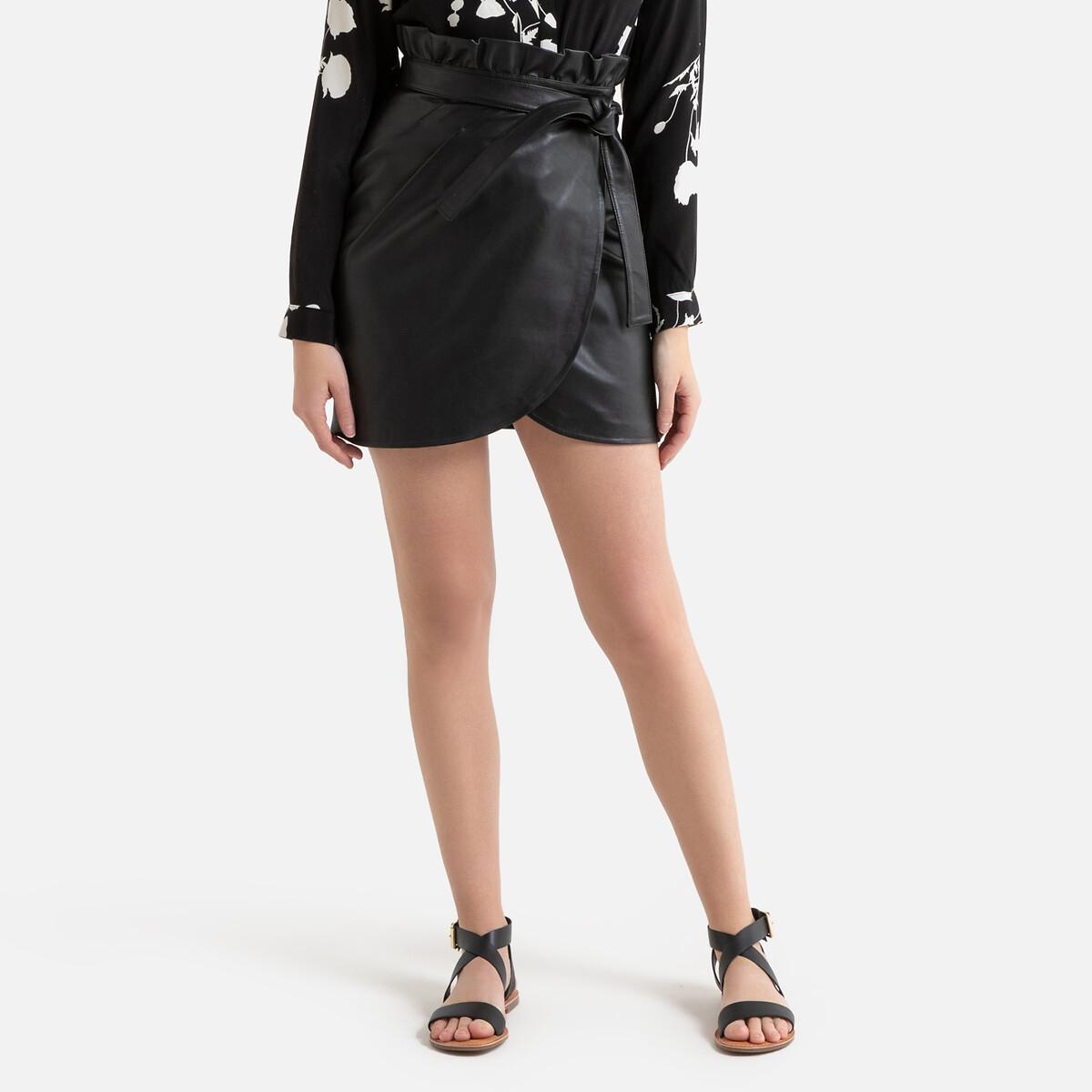Юбка La Redoute Короткая из кожи ягненка LUNA 2(M) черный юбка жаккардовая короткая