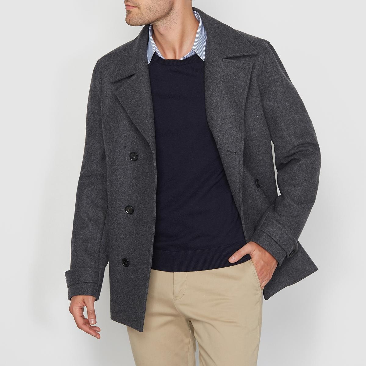 Бушлат из шерстяного драпа пальто с эффектом шерстяного драпа