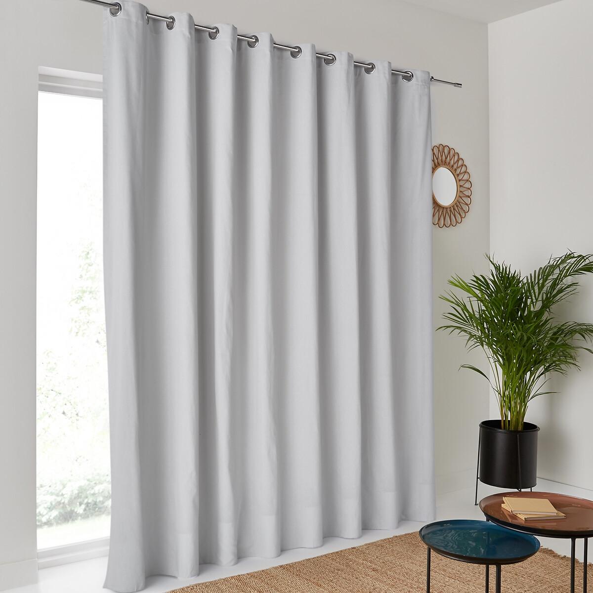 Штора LaRedoute Хлопковая широкая Scnario 260 x 280 см серый