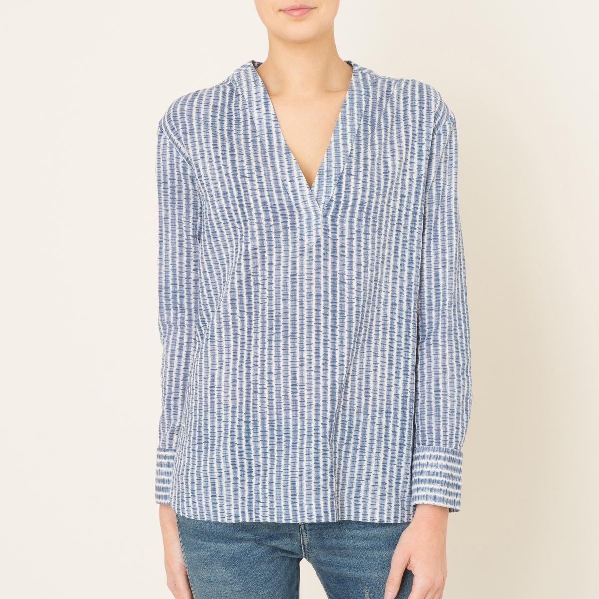 Блузка в полоску с длинными рукавамиСостав и описание   Материал : 80% хлопок, 20% полиэстер.   Марка : STELLA FOREST<br><br>Цвет: темно-синий