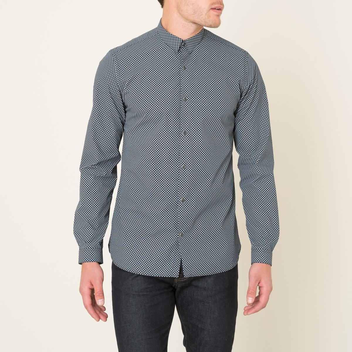 Рубашка с микропринтомСостав и описание    Материал : 100% хлопок   Марка : THE KOOPLES<br><br>Цвет: темно-синий