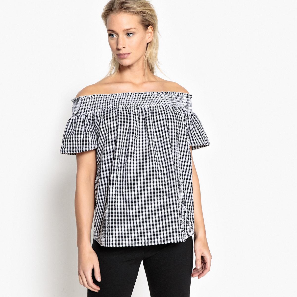 Блузка для периода беременности с рисунком виши и открытыми плечами от LA REDOUTE MATERNITE