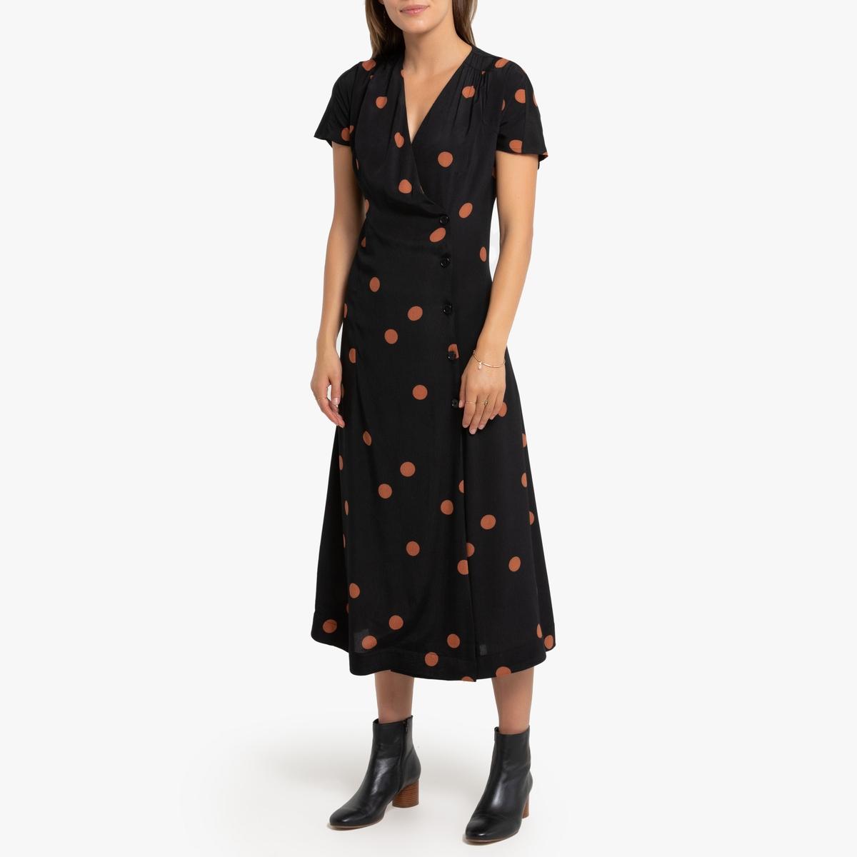 Платье La Redoute Длинное с запахом принт в горошек 38 (FR) - 44 (RUS) черный