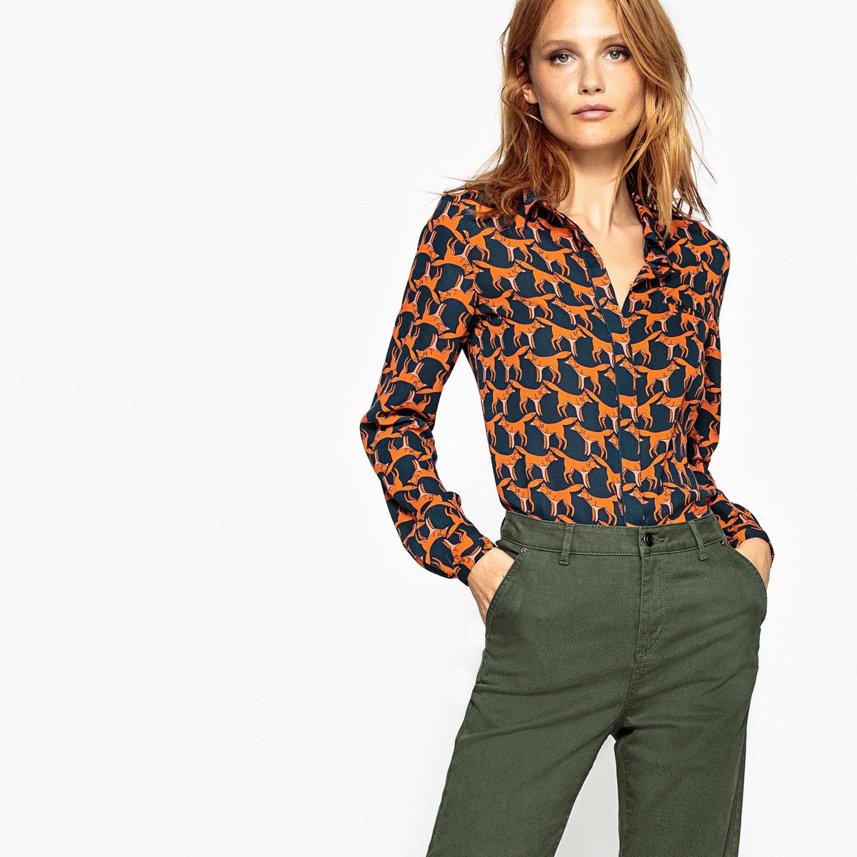 Рубашка с длинными рукавами и рисунком лиса