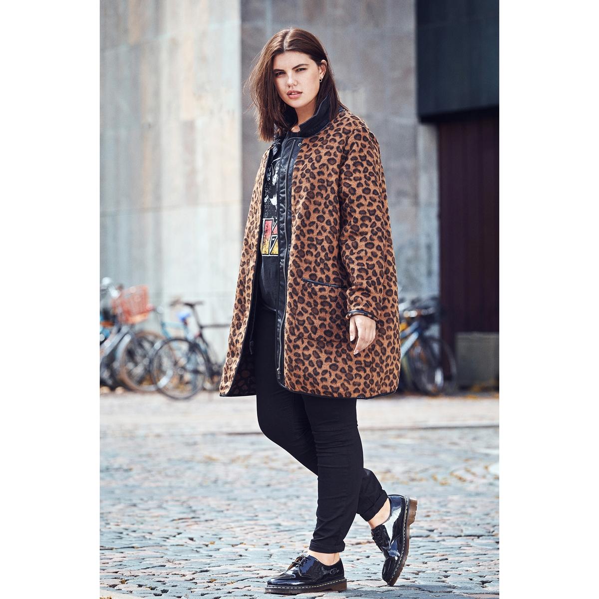 Пальто женское демисезонное средней длины с леопардовым рисунком xp group женское демисезонное пальто ирма молочный