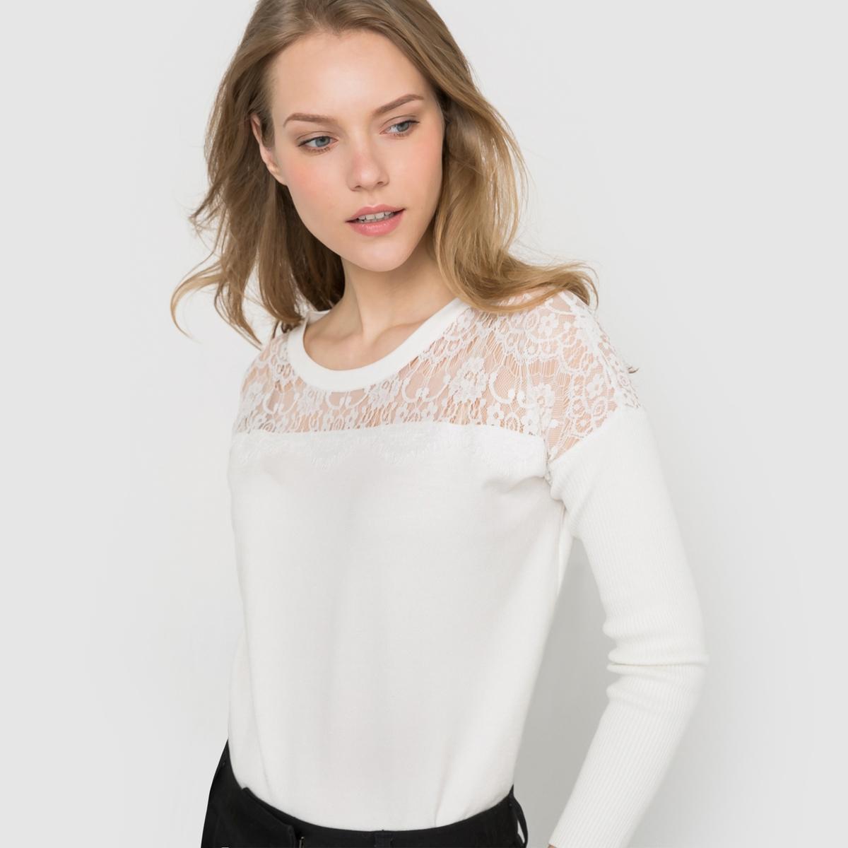Пуловер с круглым вырезом и кружевной вышивкой от La Redoute Collections