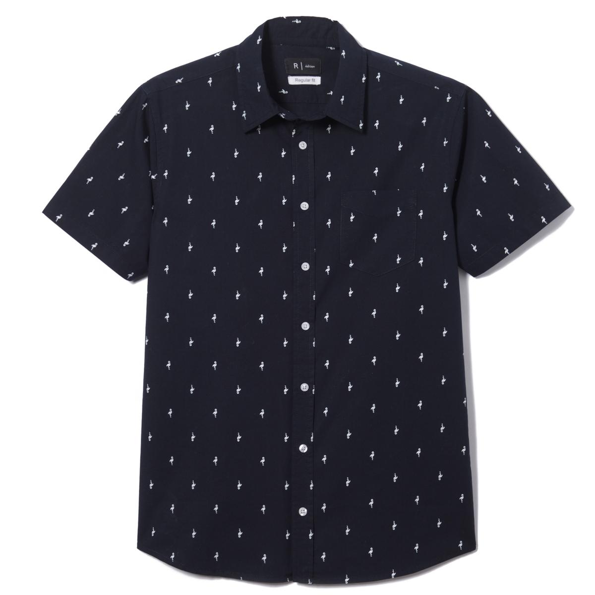 Рубашка с рисунком стандартного покрояРубашка с рисунком, короткие рукава. Прямой покрой, классический воротник со свободными уголками. 1 нагрудный карман. Закругленный низ. Принт « розовый фламинго »  .Состав и описание :Материал  55% хлопка, 45% полиэстера  Марка  R ?ditionДлина  79 см  Уход:Машинная стирка при 40 °ССтирать с вещами подобного цвета с изнанки   Отбеливание запрещеноГладить при умеренной температуреГладить с изнаночной стороныСухая (химическая) чистка запрещенаМашинная сушка запрещена<br><br>Цвет: рисунок/фон темно-синий<br>Размер: 35/36.37/38.41/42.45/46