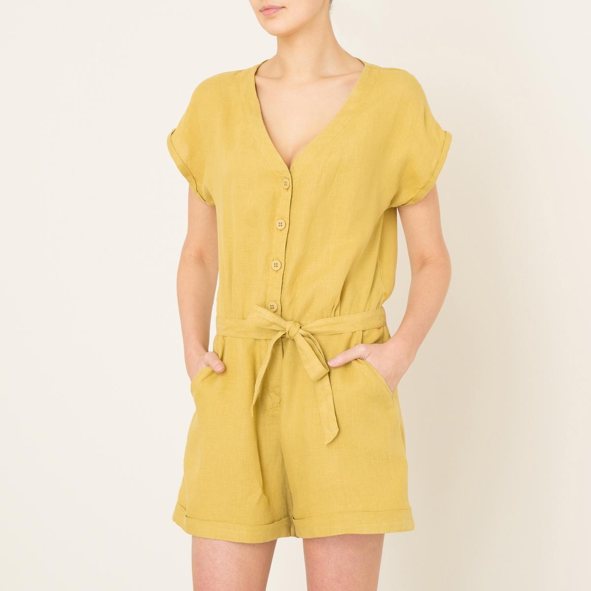 Комбинезон с шортами  ESCOUADEСостав и описание    Материал : 100% лен   Марка : HARRIS WILSON<br><br>Цвет: желтый