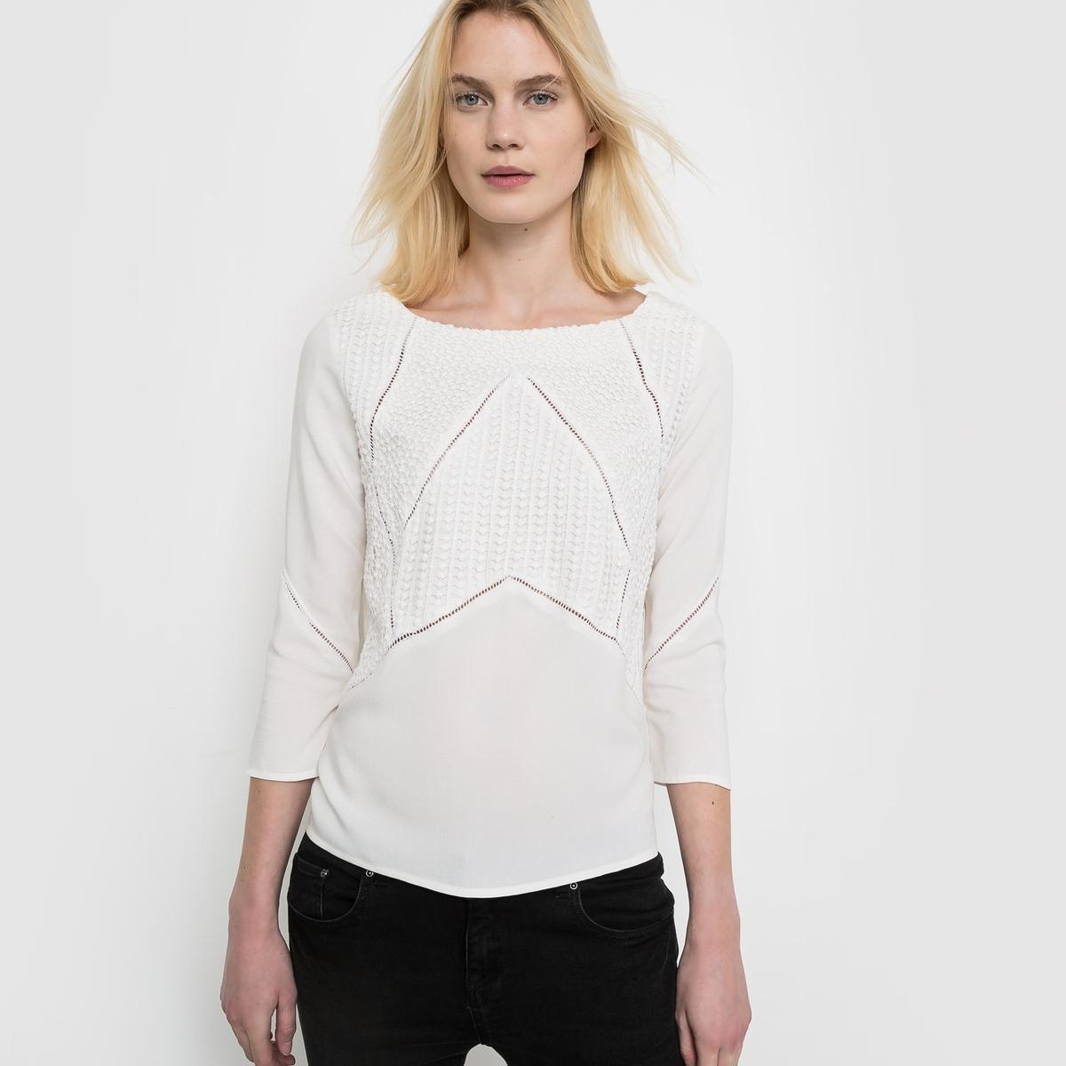 Блузка, 100% вискозыДобавьте женственности в Ваш образ...<br><br>Цвет: слоновая кость,черный<br>Размер: 44 (FR) - 50 (RUS).40 (FR) - 46 (RUS).42 (FR) - 48 (RUS)