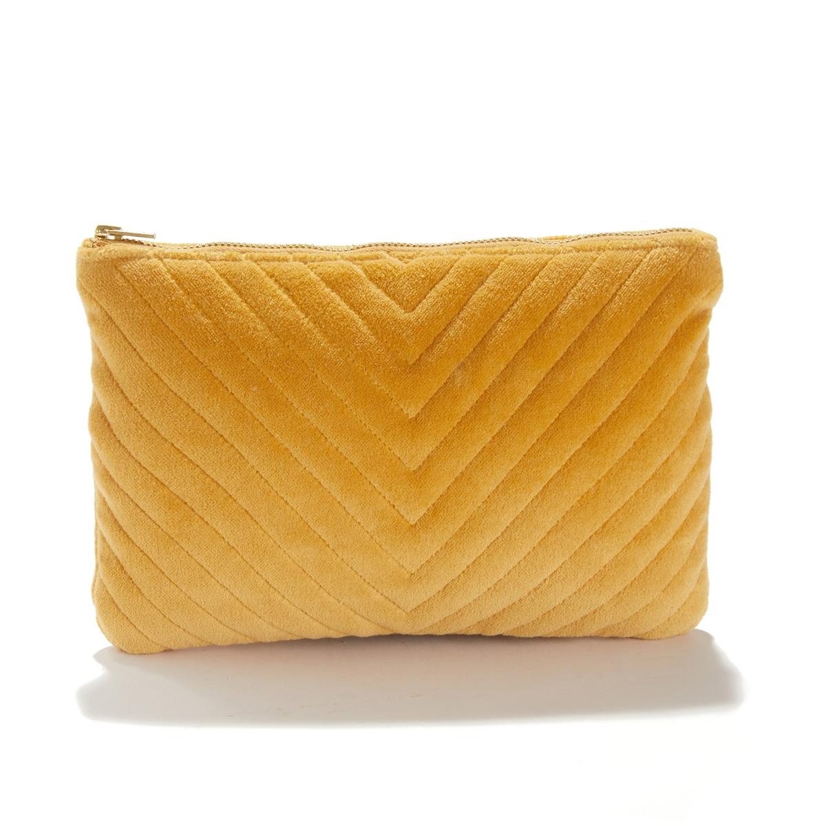 Сумка-клатч LaRedoute Чистый хлопок Velvet единый размер желтый недорого