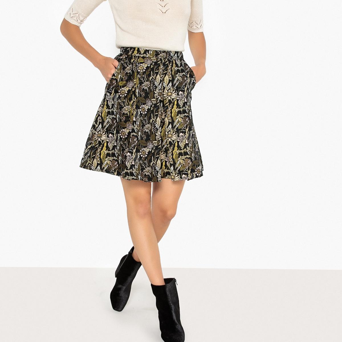 Falda de estilo patinadora jacquard, semilarga