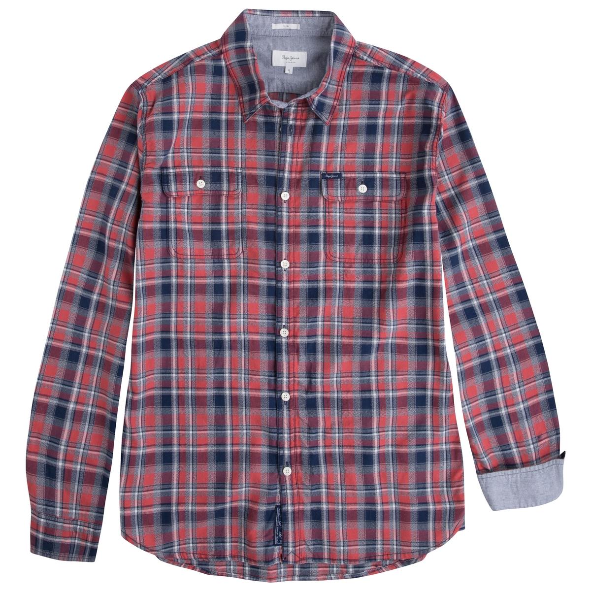 Рубашка с длинными рукавами  PEPE JEANSРубашка с длинными рукавами PEPE JEANS . Сплошной рисунок в клетку . Воротник со свободными уголками. Застежка на пуговицы.  Состав и описание :Материал : 93% хлопка, 7% льна  Марка :  PEPE JEANS<br><br>Цвет: в клетку красный/ синий
