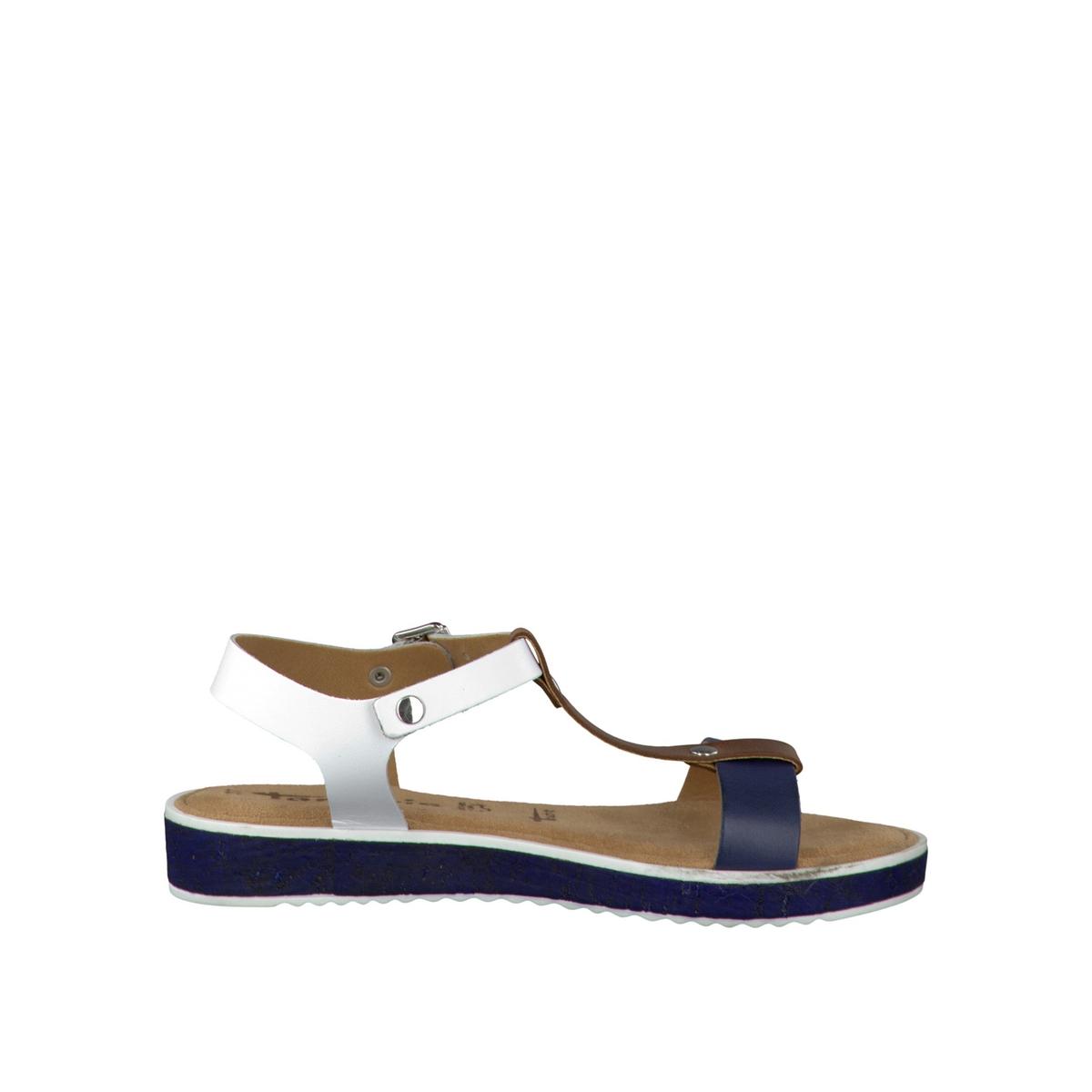 Босоножки кожаные 28120-28Верх/Голенище : кожа    Подкладка : синтетика    Стелька : текстиль    Подошва : синтетика    Высота каблука : 3 см    Форма каблука : плоский каблук    Мысок : закругленный мысок    Застежка : пряжка<br><br>Цвет: каштановый,синий морской