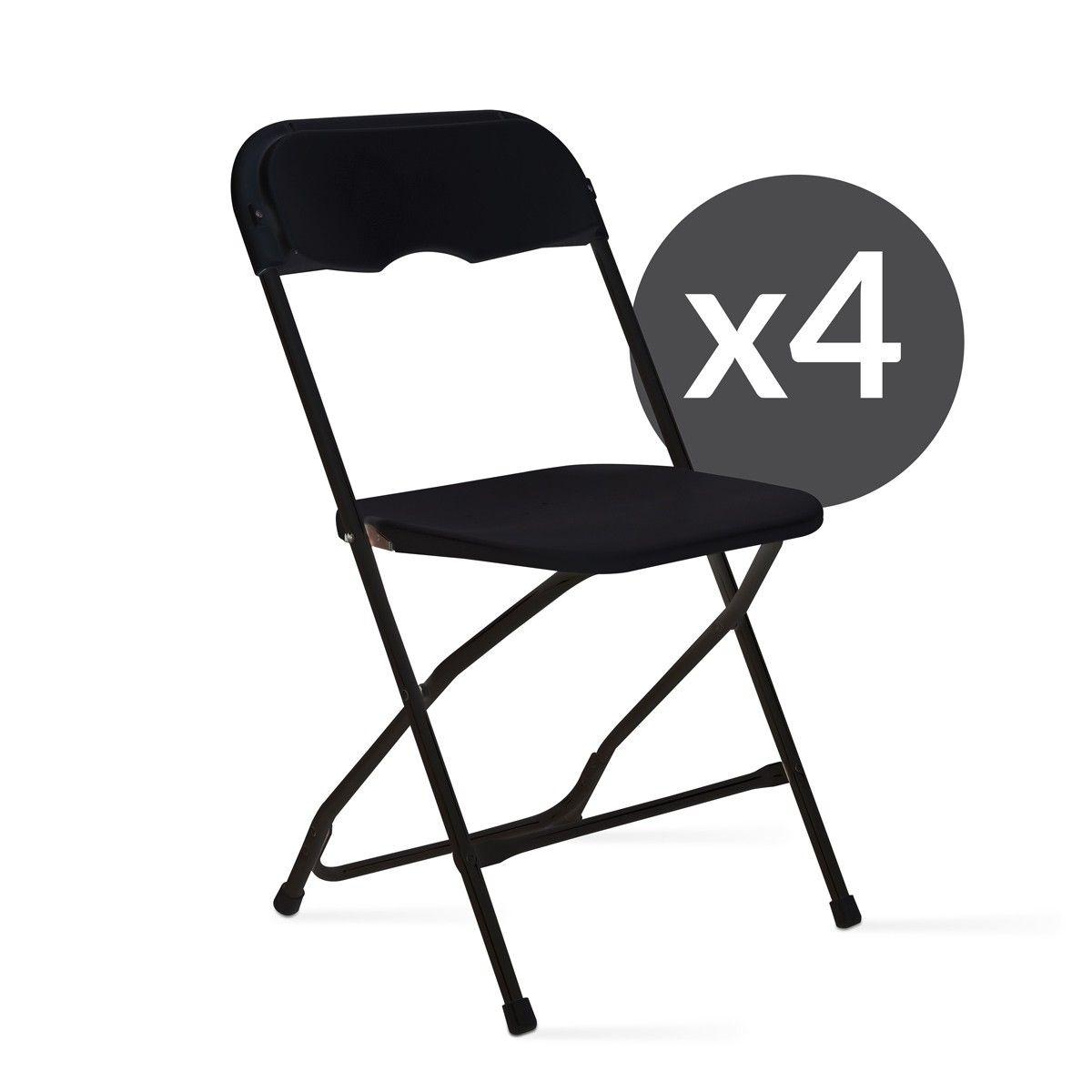 Lot de 4 chaises pliantes noires de réception