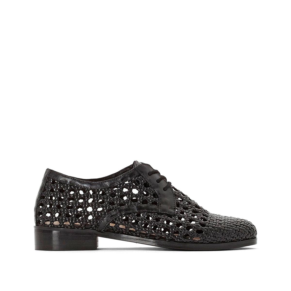 Ботинки-дерби кожаные плетеные ажурные